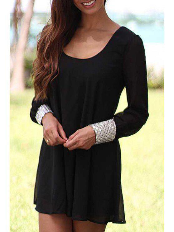 sale Long Sleeve Layered Black Chiffon Dress - BLACK S