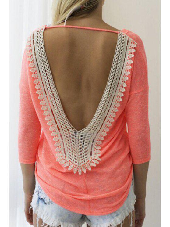 sale Scoop Neck Backless Lace Splicing T-Shirt - ORANGE S