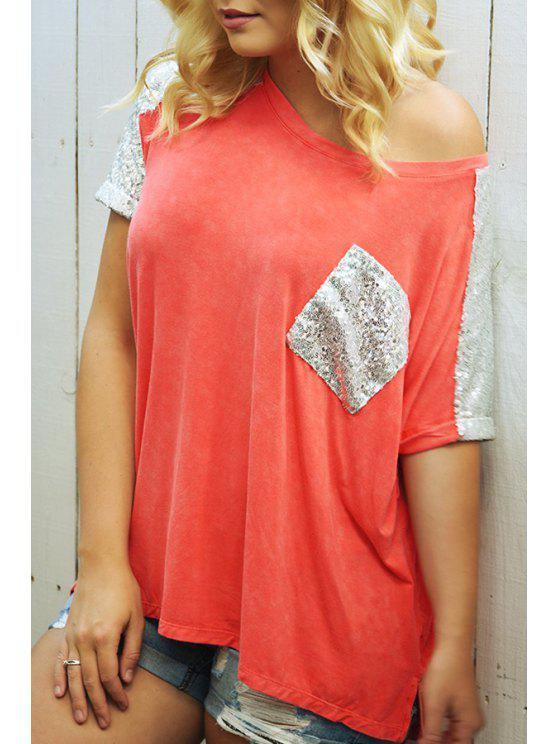 T-shirt à poche marbré à blocs de tige oblique - Orange XL