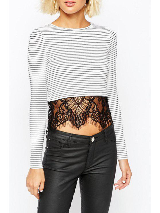 womens Long Sleeve Lace Spliced Striped T-Shirt - WHITE AND BLACK S