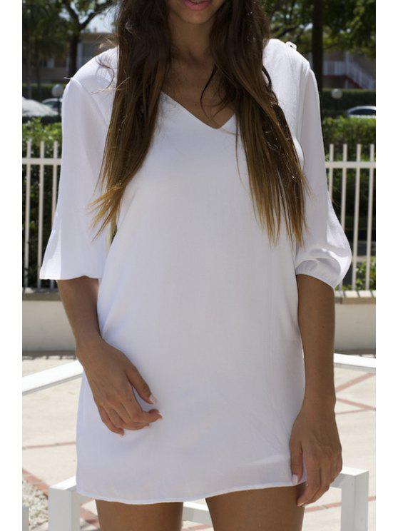 latest Lace Splicing Solid Color 3/4 Sleeve Dress - WHITE S