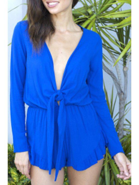 womens Plunging Neck Tie Knot Solid Color Romper - SAPPHIRE BLUE S