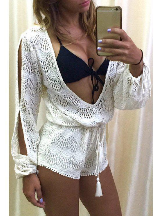 outfits Plunging Neck See-Through Openwork Romper - WHITE L