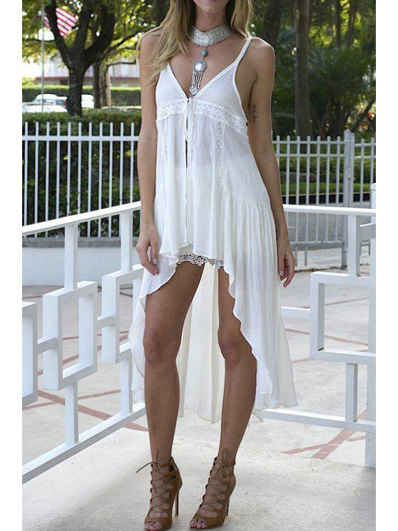 chic Spaghetti Strap High Low Lace Splicing Dress - WHITE S