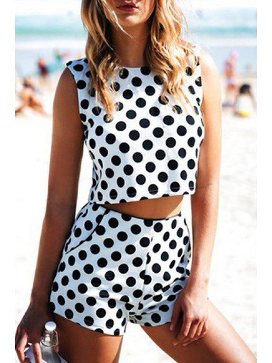 buy Black Polka Dot Sleeveless Crop Top + Shorts - WHITE AND BLACK S
