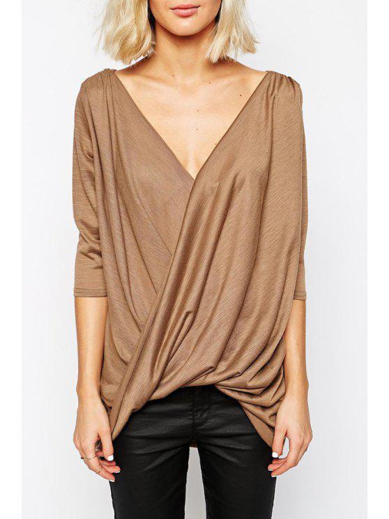 shop Front Twist Ruched Low Back Khaki T-Shirt - KHAKI S