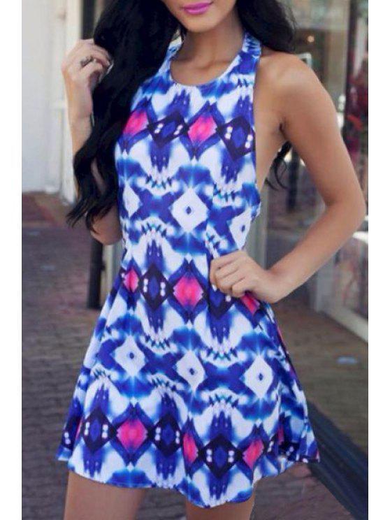 best Halter Neck Argyle Print Backless Dress - BLUE AND WHITE S