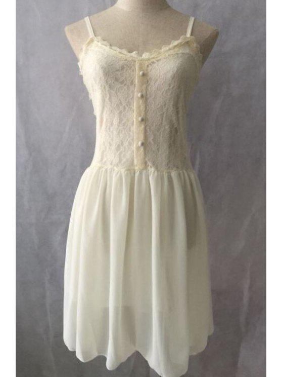 latest Spaghetti Strap Lace Chiffon Splicing Sleeveless Dress - OFF-WHITE S