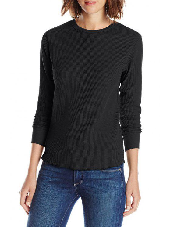 new Pure Color Long Sleeve T-Shirt - BLACK S