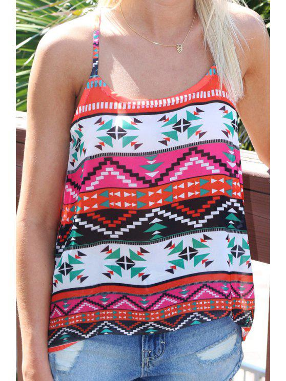 fancy Spaghetti Strap Colorful Geometric Print Tank Top - COLORMIX S