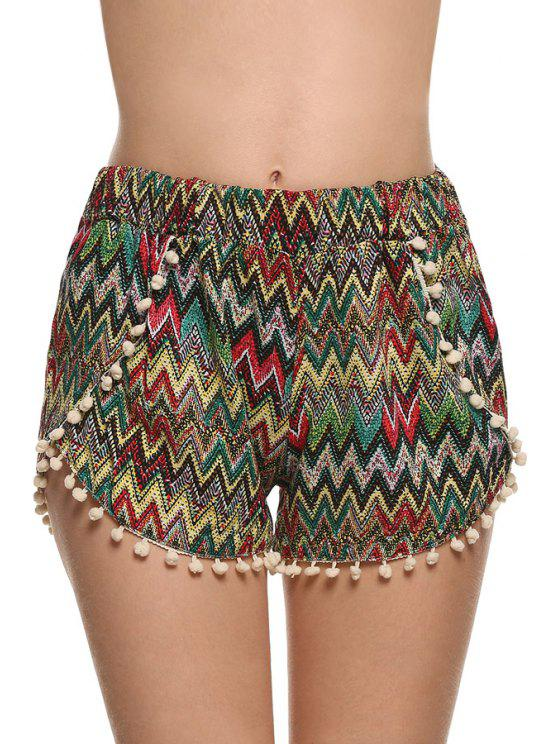 trendy Straight Leg Zig Zag Laciness Shorts - COLORMIX S