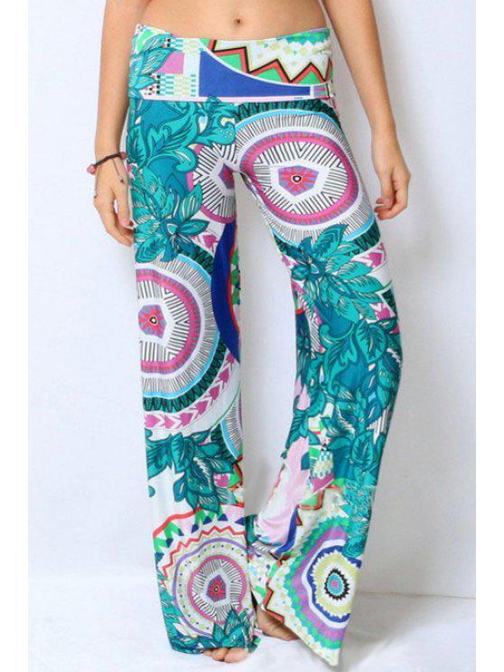 women Wide Leg Floral Print Exumas Pants - GREEN S