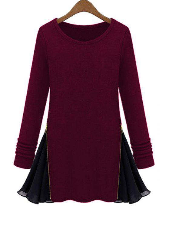 T-shirt épicé à manches longues en mousseline de soie - Rouge vineux  M