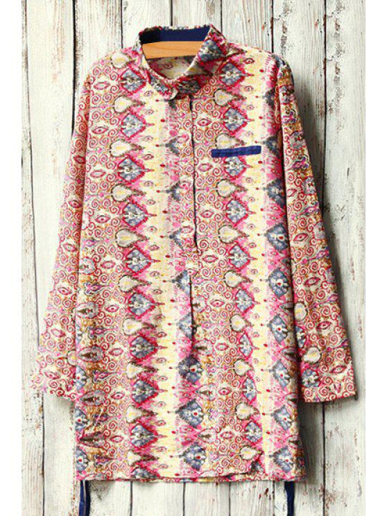 chic Colorful Abstract Print Long Sleeve Shirt - RED ONE SIZE(FIT SIZE XS TO M)