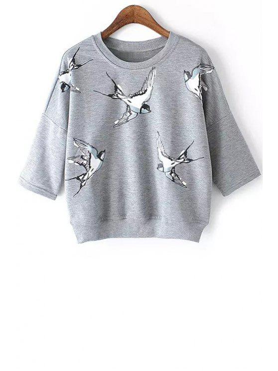 hot Half Sleeve Bird Print Sweatshirt - GRAY M