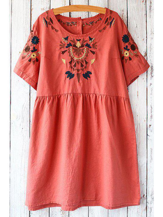 shops Jewel Neck Floral Embroidery Short Sleeve Dress - LIGHT RED ONE SIZE(FIT SIZE XS TO M)