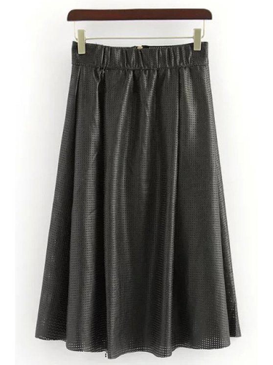 new Mesh Design Ruffled PU Leather Midi Skirt - BLACK S
