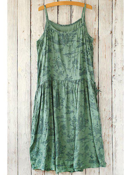 affordable Spaghetti Strap Printed Sleeveless Dress - GREEN ONE SIZE(FIT SIZE XS TO M)