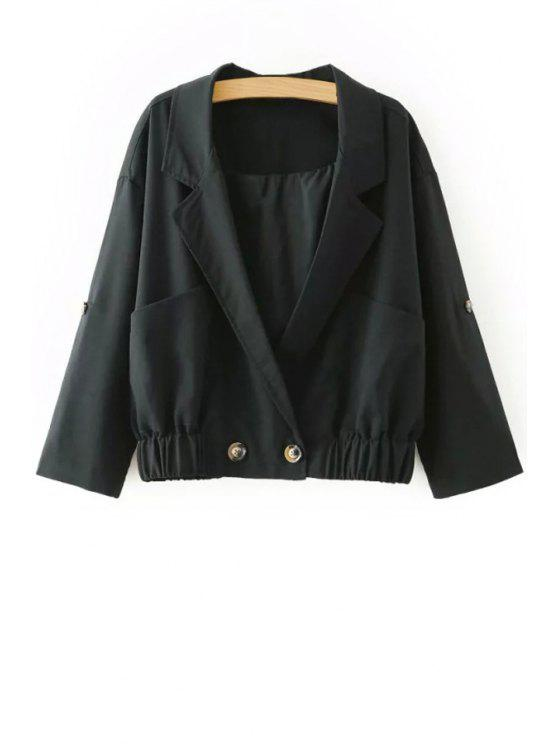 ladies Lapel Solid Color Pocket Design Jacket - BLACK M
