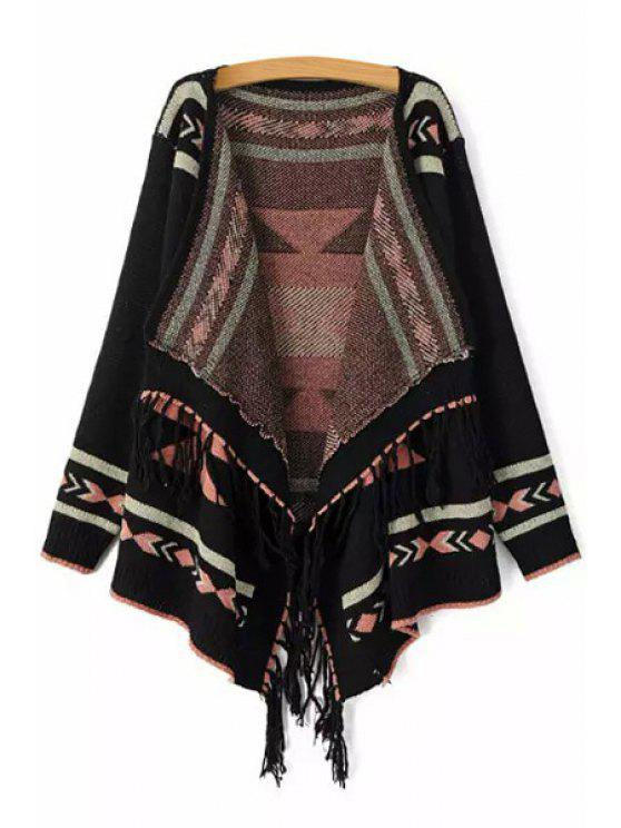 affordable Ethnic Pattern Tassels Asymmetrical Cardigan - BLACK ONE SIZE(FIT SIZE XS TO M)