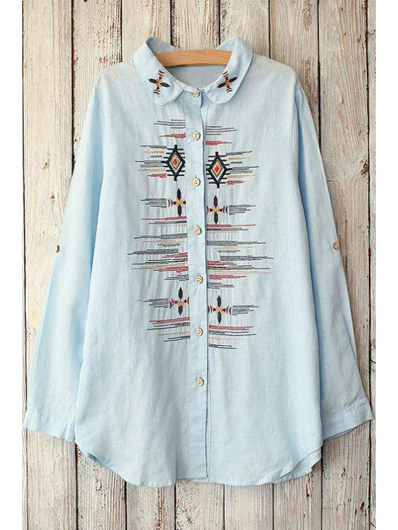 outfit Argyle Stripe Embroidery Long Sleeve Shirt - LIGHT BLUE ONE SIZE(FIT SIZE XS TO M)