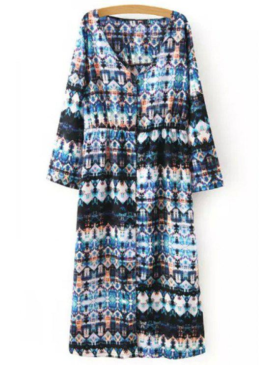 sale Ethnic Pattern Single-Breasted Long Shirt - COLORMIX S