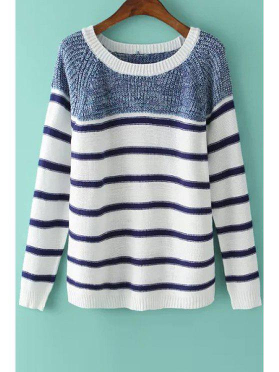 womens Long Sleeve Color Block Stripes Sweater - BLUE AND WHITE ONE SIZE(FIT SIZE XS TO M)