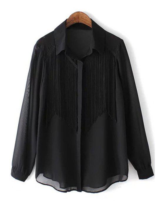 best Long Sleeve Tassels See-Through Chiffon Shirt - BLACK S