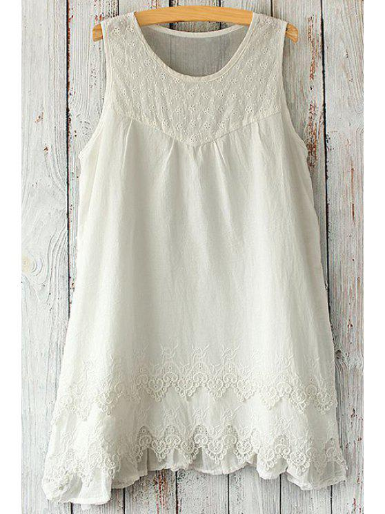 trendy Lace Splicing Mini Dress - WHITE ONE SIZE(FIT SIZE XS TO M)