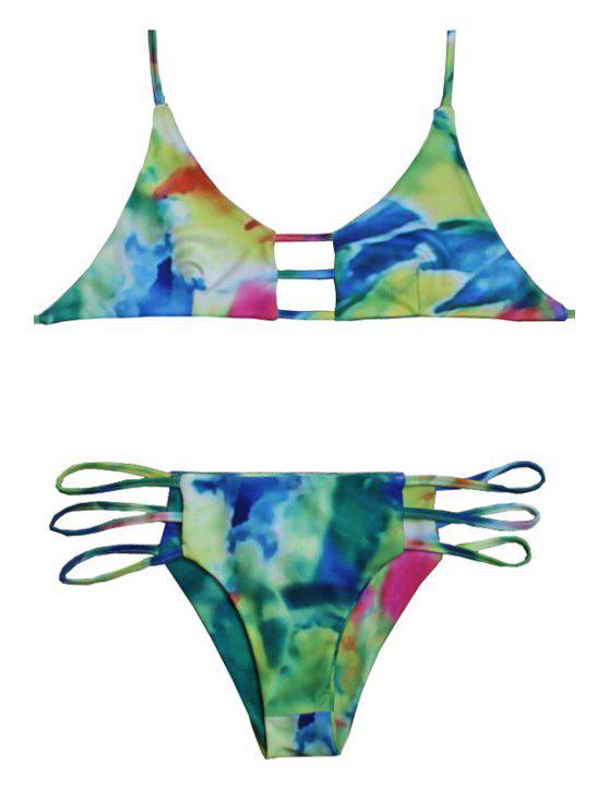 womens Tie Dye Halter Print Bikini Set - CELADON XL