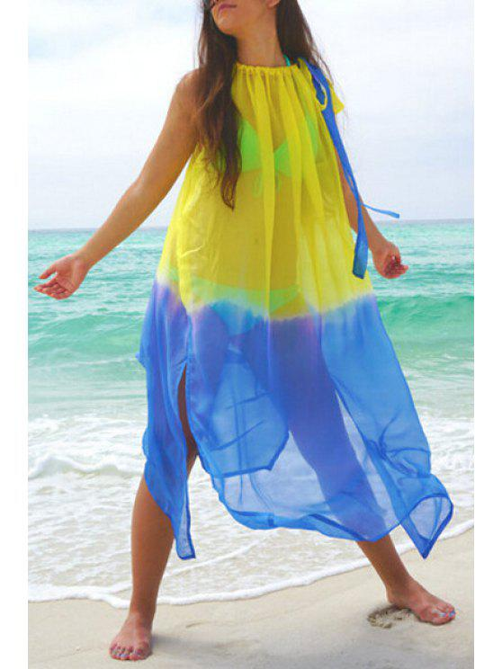 shop Spaghetti Strap Color Block See-Through Dress - BLUE AND YELLOW S