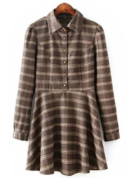 shops Long Sleeve Ruffled Plaid Shirt Dress - COLORMIX M