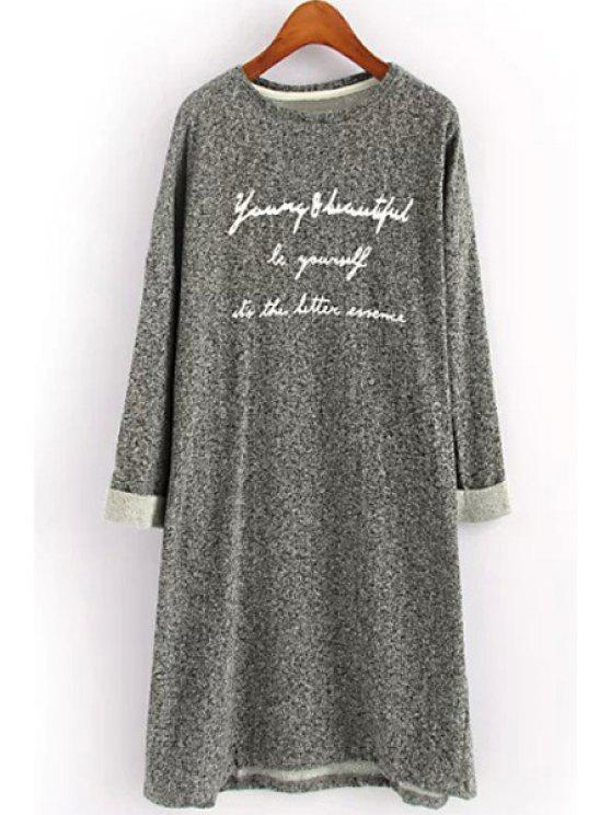 chic Letter Print Long Sleeve Straight Dress - GRAY ONE SIZE(FIT SIZE XS TO M)