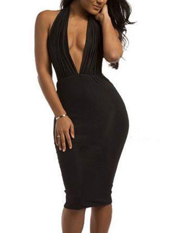 trendy Black Plunging Neck Sleeveless Bodycon Dress - BLACK S
