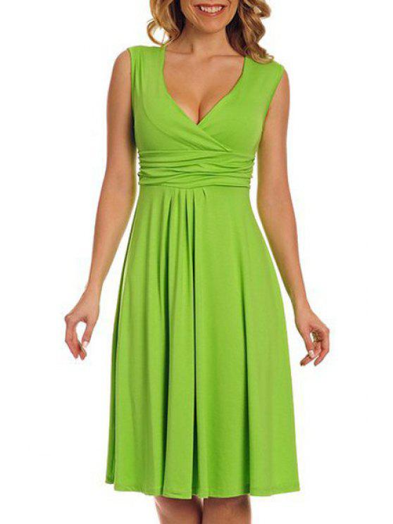 fancy Solid Color Plunging Neck Sleeveless Midi Dress - GREEN XL