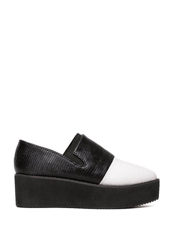outfit Color Block Pointed Toe Platform Shoes - BLACK 35