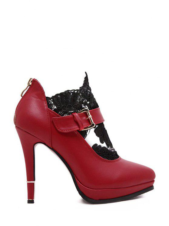 sale Solid Color Lace Platform Pumps - RED 35