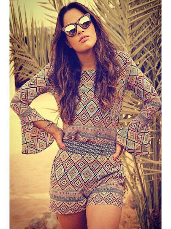 fashion Argyle Print Long Sleeve Blouse and Shorts Suit - PURPLISH BLUE S