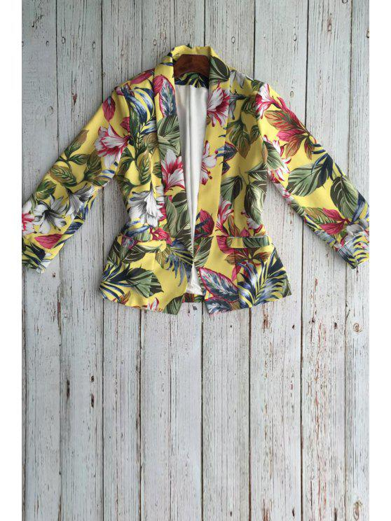 sale Floral Shawl Collar Long Sleeve Blazer - DEEP YELLOW S