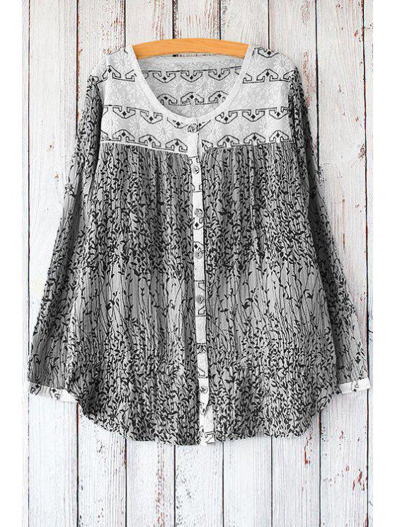 latest Scoop Neck Tiny Printed Long Sleeve Shirt - BLACK ONE SIZE(FIT SIZE XS TO M)