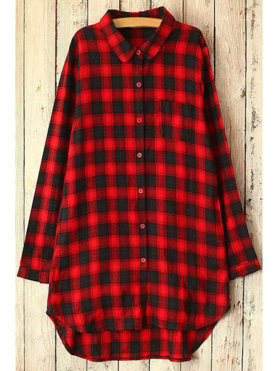fashion Polo Collar High Low Plaid Long Sleeve Shirt - RED ONE SIZE(FIT SIZE XS TO M)