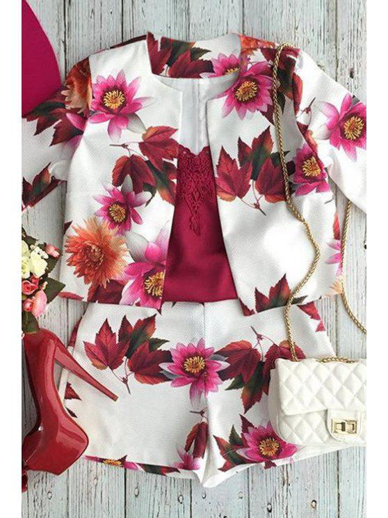 latest Floral Print Long Sleeve Coat and Shorts Suit - AS THE PICTURE XL