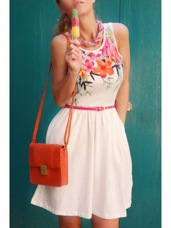 outfits Flower Print Jewel Neck Sundress - AS THE PICTURE S