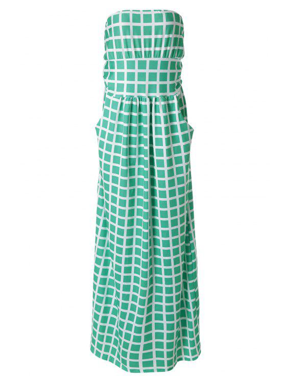 shops Plaid Print Strapless Maxi Dress - AZURE M