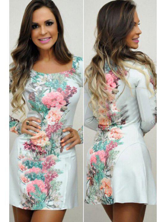 unique Floral Square Neck Long Sleeve Dress - AS THE PICTURE S