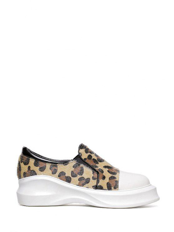 trendy Round Toe Leopard Print Platform Shoes - LEOPARD 34