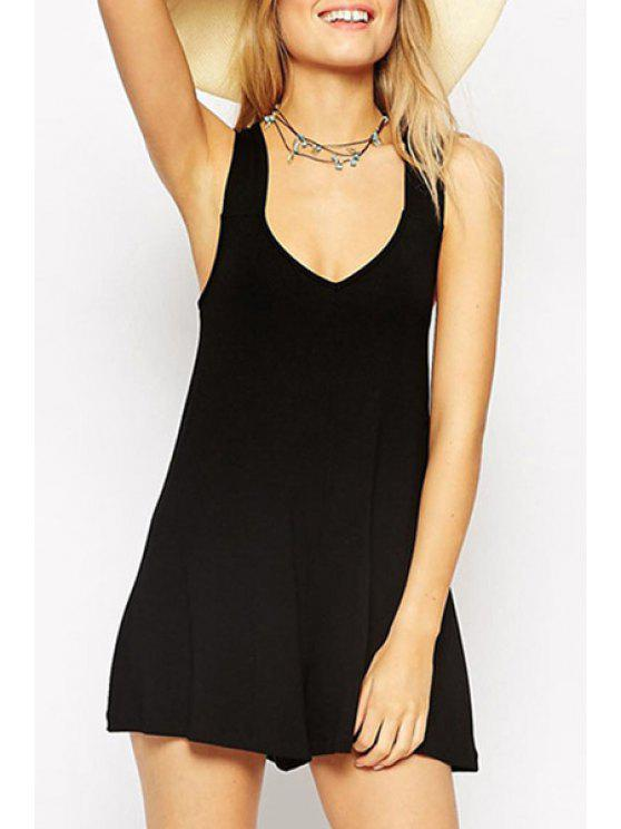 outfit Plunging Neck Crisscross Back Black Playsuit - BLACK ONE SIZE(FIT SIZE XS TO M)