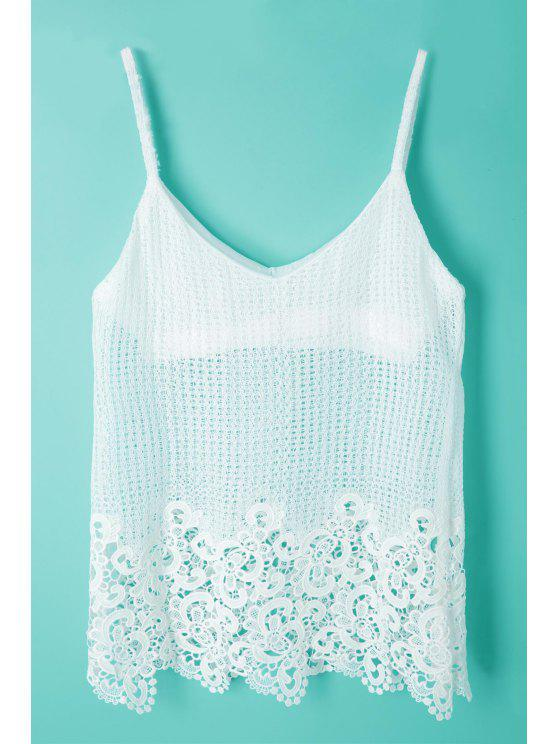 ladies Spaghetti Strap Lace Openwork Tank Top - WHITE ONE SIZE(FIT SIZE XS TO M)