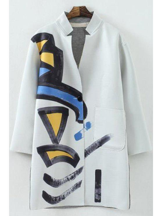 outfits Scrawl Print Stand Neck Long Sleeve Coat - LIGHT GRAY S