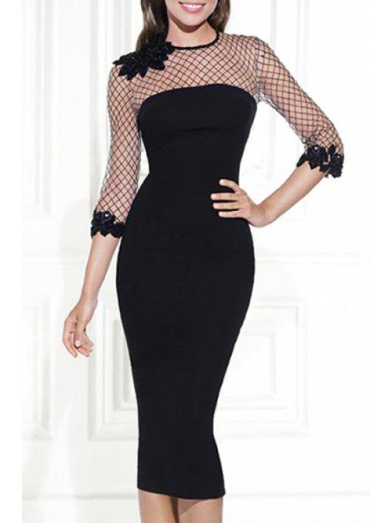 shop Mesh Design See-Through Black Bodycon Dress - BLACK L